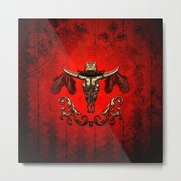 Awesome elegante cow skull with hat Metal Print