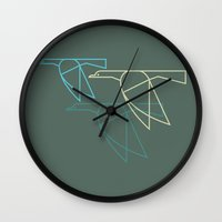 mid century Wall Clocks featuring Mid-Century Style Ducks by Dog A Day