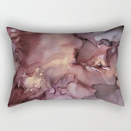 Ink Swirls Painting Lavender Plum Gold Flow Rectangular Pillow