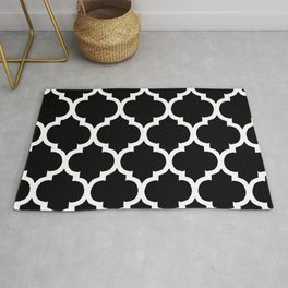 Moroccan Black and White Lattice Moroccan Pattern Rug