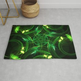 Green Lights | Fractal Art Rug