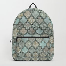 Old Moroccan Tiles Pattern Teal Beige Distressed Style Backpack