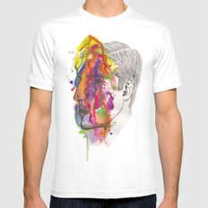 Breathe In Colour White MEDIUM Mens Fitted Tee