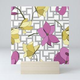 Pink and Yellow Flowers On Geometric Linear Pattern Mini Art Print