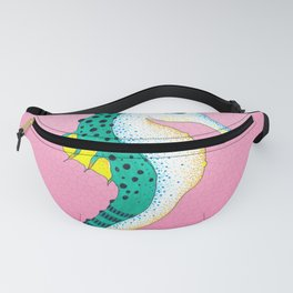 Seahorse Teal Yellow Pink Stained Glass Fanny Pack