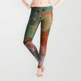 Copper Turquoise Dirty Pour Leggings