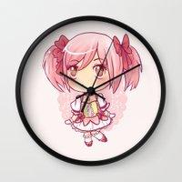madoka Wall Clocks featuring Madoka Chibi by Porzellan