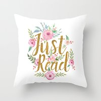 Throw Pillows featuring Just Read - White by Evie Seo