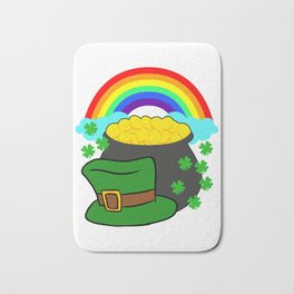 Pot Of Gold Hat And Rainbow Clover St Patricks Day Bath Mat