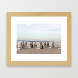 Seaside Beach Cabanas Framed Art Print