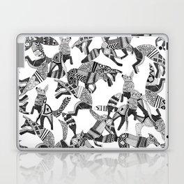 woodland fox party black white Laptop & iPad Skin