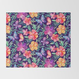 Summer Blooms & Butterflies on Dark Purple Throw Blanket
