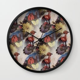 Collage Love: cock-a-doodle-do seamless textile collage Wall Clock