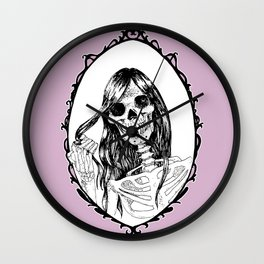Skull in The Mirror Pink Background Wall Clock