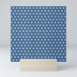 Flower of Life Pattern: Navy Blue Mini Art Print