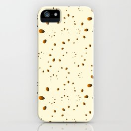 A lot of orange drops and petals on a gentle background in mother of pearl. iPhone Case