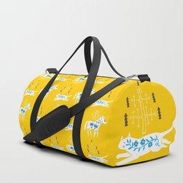 Folk cat on yellow Duffle Bag