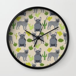 Frenchie french bulldog grey cactus desert southwest dog breed by pet friendly Wall Clock