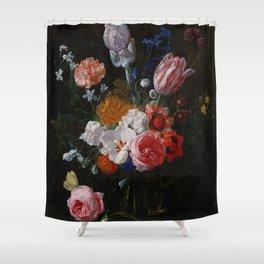 Nicolaes van Veerendael - A Bouquet of Flowers in a Crystal Vase (1662) Shower Curtain