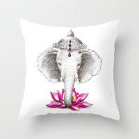 ganesh Throw Pillows featuring Ganesh by Tammy Liu-Haller