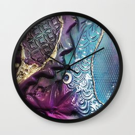 Purple Coloured Abstract Textured Glass Art Wall Clock