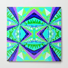 psychedelic geometric abstract pattern background in green purple blue Metal Print