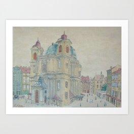 Adolf  Painting perchtoldsdorg church castle Art Print