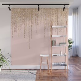 Luxury Blush Pink Gold Sparkly Glitter Fringe Wall Mural