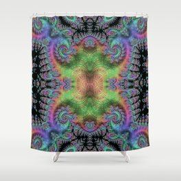 Psychedelic Fractal Kaleidoscope Shower Curtain