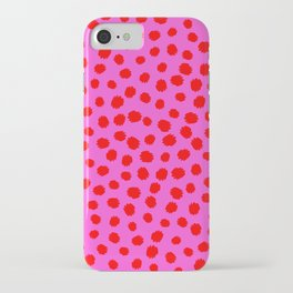 Keep me Wild Animal Print - Pink with Red Spots iPhone Case