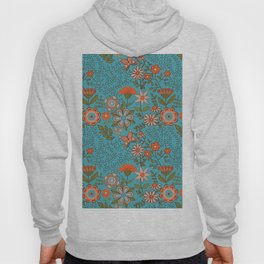 Fantasy Floral in Blue and Orange Hoody
