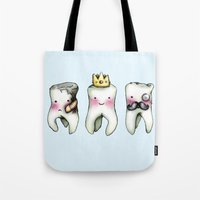 tooth Tote Bags featuring Rotten Tooth, Crowned Tooth and Wisdom Tooth by Hungry Designs