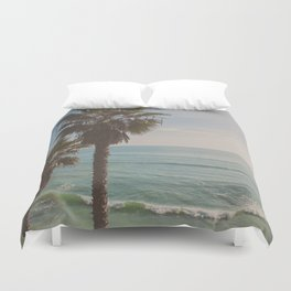 palm tree and ocean. California Vacation Duvet Cover