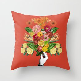 Botanical Red Throw Pillow