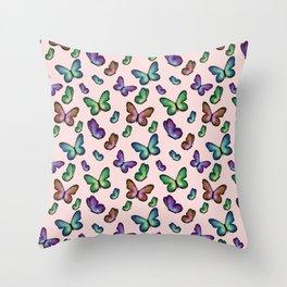 Butterflies on pink Throw Pillow