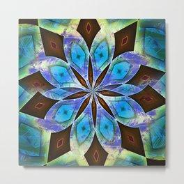 Blue and Brown Mandala Metal Print