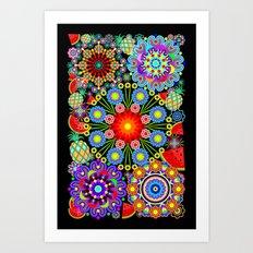 Mandalas & Exotic Fruits Pattern Art Print
