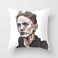 depeche mode Throw Pillows featuring Mode by Meredith Mackworth-Praed