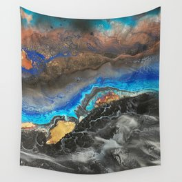 Storm Brewing - Fluid art on canvas Wall Tapestry