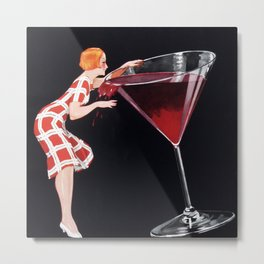 Woman and Giant Glass of Red Wine Vintage Art Metal Print