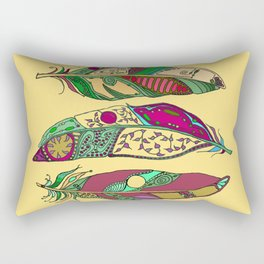 Bohemian Feathers on Honey Yellow - Hand-drawn Illustration Rectangular Pillow