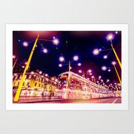 Night view of Station at  Graz , Austria. Art Print