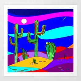A Southwest Desert Scene at Night with Stars Art Print