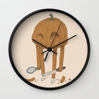 pumpkin Wall Clocks featuring Pumpkin by Gabor Nemethi