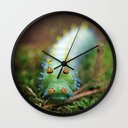Green and Orange Cercropia Caterpillar Wall Clock