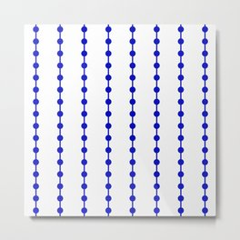 Geometric Droplets Pattern Linked - Navy Blue on White Metal Print