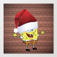 spongebob Canvas Prints featuring Spongebob Celebration by Neo Store