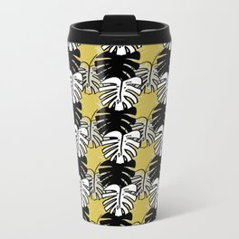 Monstera Print Metal Travel Mug