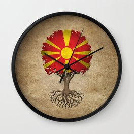 Vintage Tree of Life with Flag of Macedonia Wall Clock