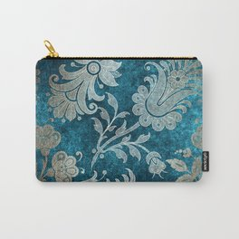 Aqua Teal Vintage Floral Damask Pattern Carry-All Pouch